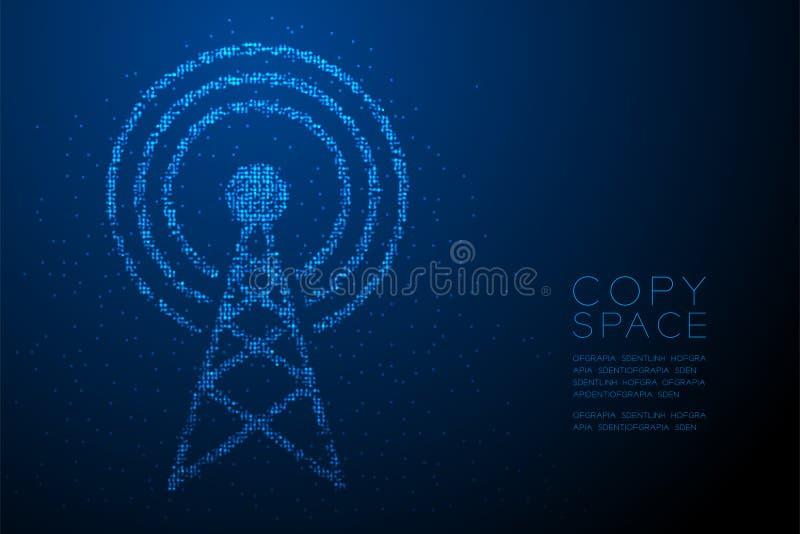 Abstrakte geometrische Bokeh-Kreispunktpixelmuster Antennenmastform, blaues illus Farbe des Sendungstelekommunikations-Konzeptent lizenzfreie abbildung