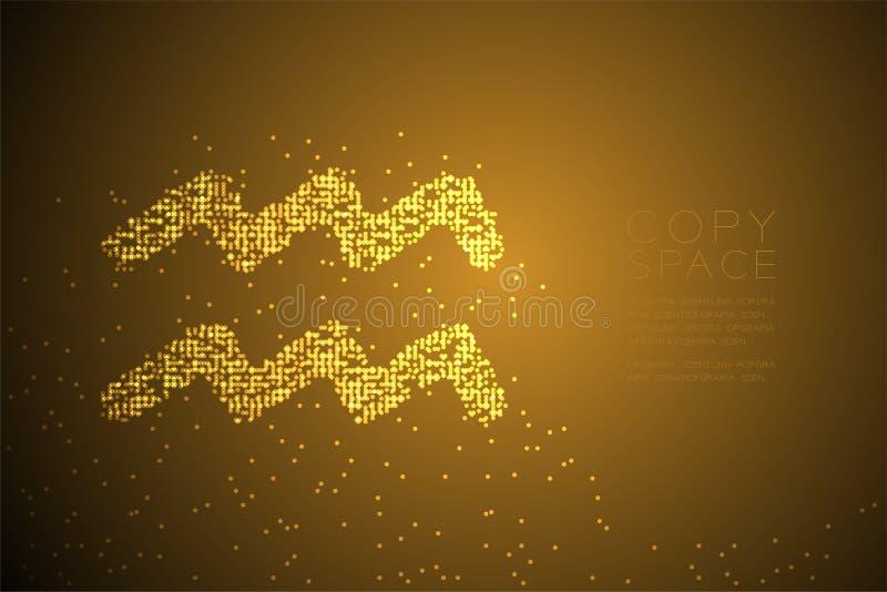 Abstrakte geometrische Bokeh-Kreispunktpixelmuster Wassermann-Sternzeichenform, Sternkonstellations-Konzeptdesign-Gold-Farbe-illu lizenzfreie abbildung