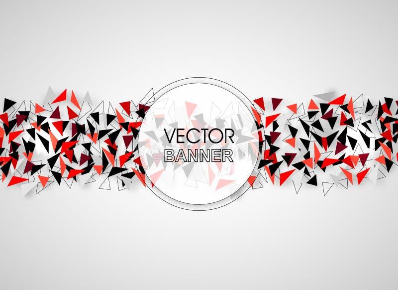 Abstrakte geometrische Fahne Technischer polygonaler Hintergrund mit Schatten Schwarze, rote und weiße Vektorillustration stock abbildung