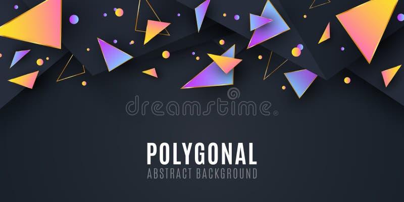 Abstrakte geometrische Formen Abdeckung f?r Ihr Design Niedrige Polyart Chaotische Formen Abstraktes Dreieck Hintergrund der poly lizenzfreie abbildung