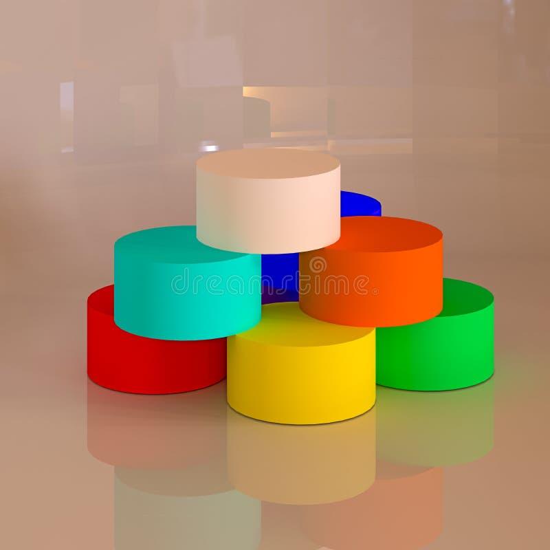 abstrakte geometrische formen 3d zylinder stock abbildung bild 46930073. Black Bedroom Furniture Sets. Home Design Ideas