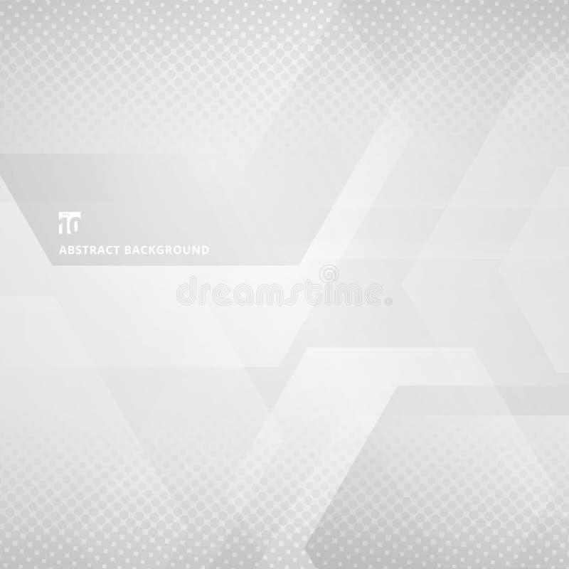 Abstrakte geometrische Hexagone, die mit Halbtonweißem überschneiden und stock abbildung