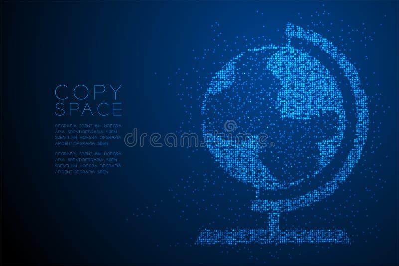 Abstrakte geometrische Kreispunktmuster Kugelform, blaue Illustration des Weltreiseveranstaltertechnologie-Konzeptdesigns Farb lizenzfreie abbildung