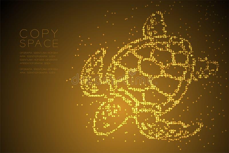 Abstrakte geometrische Kreispunktpixelmuster Meeresschildkröteform-, -wasser-und -Meeresflora und -fauna-Konzeptdesign-Goldfarbil stock abbildung