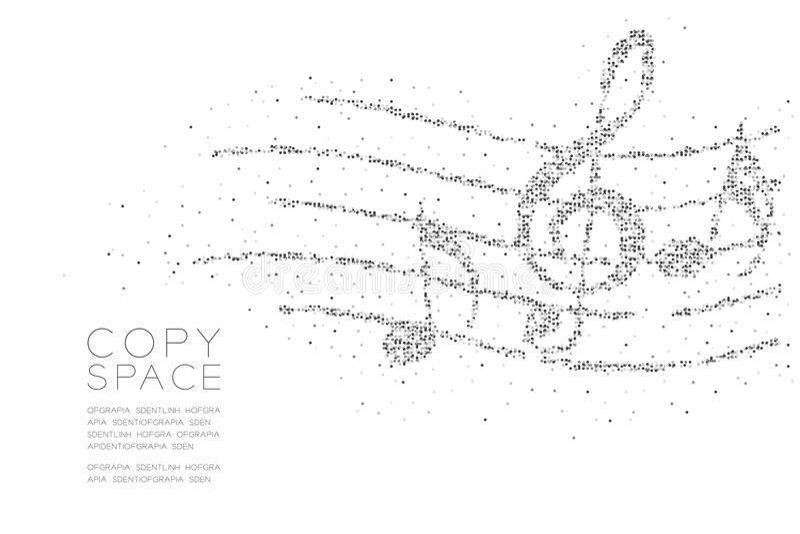 Abstrakte geometrische Kreispunktpixelmuster Musikanmerkung mit Linie Personalform-Konzeptdesignschwarz-Farbillustration lizenzfreie abbildung