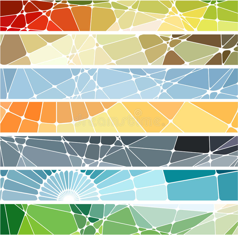 Abstrakte geometrische Mosaikfahnen eingestellt lizenzfreie abbildung