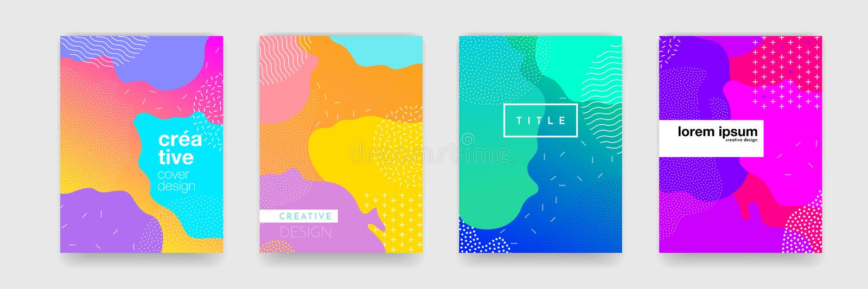 Abstrakte geometrische Musterhintergrundbeschaffenheit für Plakatabdeckungsdesign Minimale Farbsteigungs-Fahnenschablone lizenzfreie abbildung