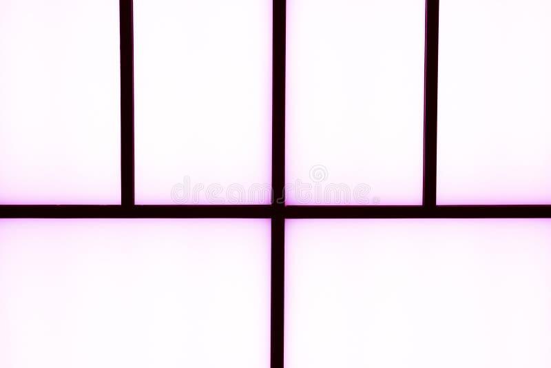Abstrakte geometrische schwarze Streifen mit Purpurlicht auf einem hellen wh stockbild
