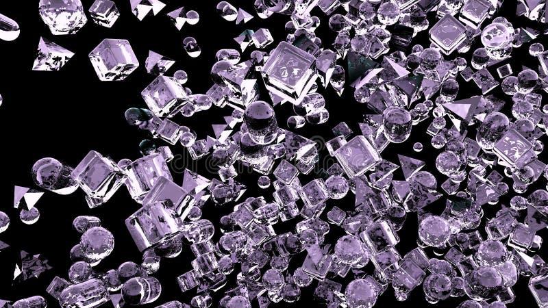 Abstrakte geometrische Zahlen des Eises, die in Zeitlupe fliegen Wiedergabe 3d stockbilder