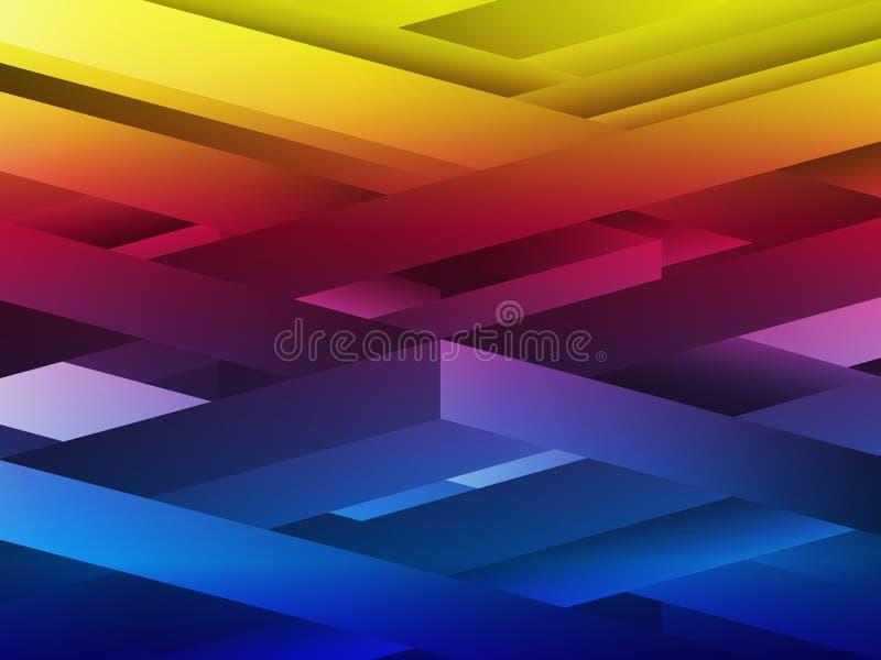 Abstrakte geometrische Zeilen des Regenbogens lizenzfreie abbildung