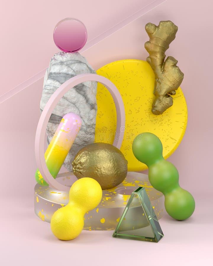 Abstrakte geometrische Zusammensetzung mit gemalten Früchten lizenzfreie abbildung