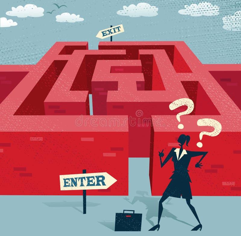 Abstrakte Geschäftsfrau beginnt mit einem schwierigen Labyrinth stock abbildung