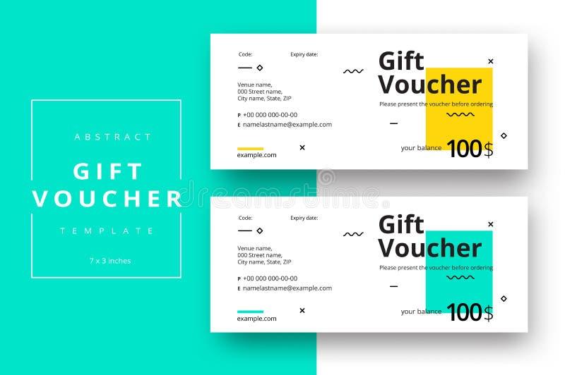 Abstrakte Geschenkgutscheinkartenschablone Moderner Rabattkupon oder c stock abbildung