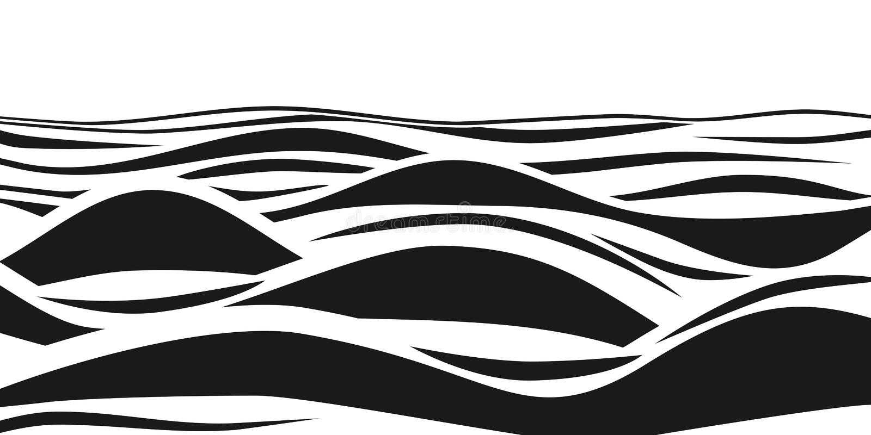 Abstrakte gestreifte Schwarzweiss-Wellen 3d Vektoroptische täuschung Meereswogekunstmuster stock abbildung
