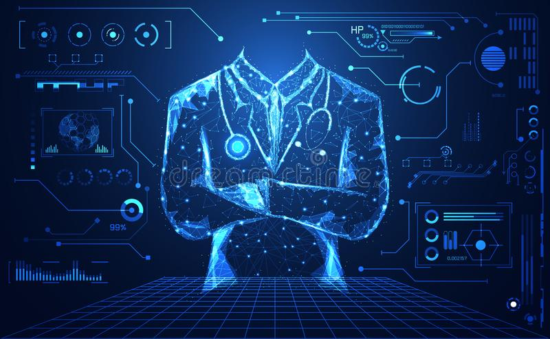Abstrakte Gesundheitsheilkunde bestehen Doktor digitales futuristi lizenzfreie stockfotos