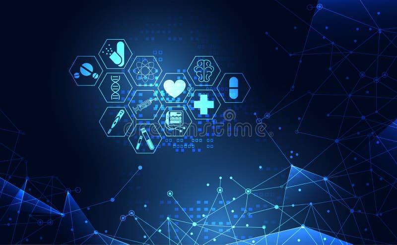 Abstrakte Gesundheitsheilkundegesundheitswesen-Ikone digitales technolo vektor abbildung