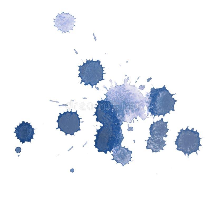 Abstrakte gezeichneter blauer Tropfen des Aquarellaquarells Hand vektor abbildung
