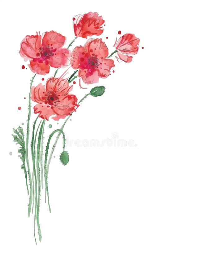 Abstrakte gezeichneter Hintergrund der Aquarellkunst Hand mit roten Mohnblumen Auch im corel abgehobenen Betrag stockfotografie
