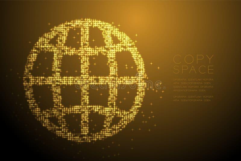 Abstrakte glänzende Bokeh-Sternchen-Vereinbarung Netzikonenform, Konzeptentwurfs-Goldfarbillustration lizenzfreie abbildung