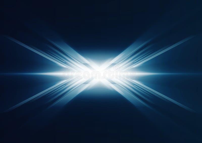 Abstrakte glühende blaue Linien in der Perspektive stock abbildung