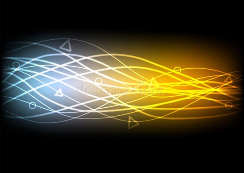 Abstrakte glühende Linien auf schwarzem Hintergrund stock abbildung