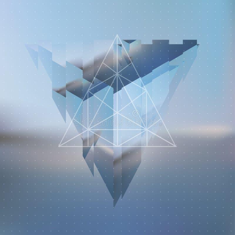 Abstrakte Glitched-, gebrochene oder zersplittertepyramide mit dem Reflektierung vektor abbildung