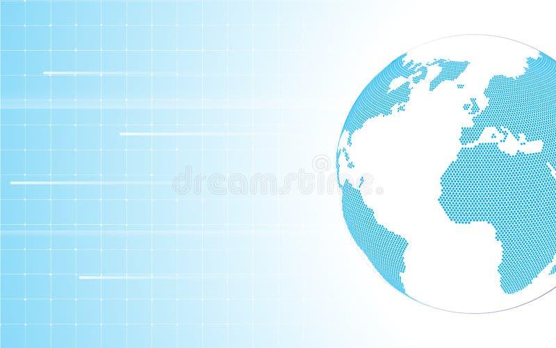 Abstrakte globale Weltkartekreisbeschaffenheit mit Konzept- des Entwurfeshintergrund des Rechteckmusters sauberem vektor abbildung