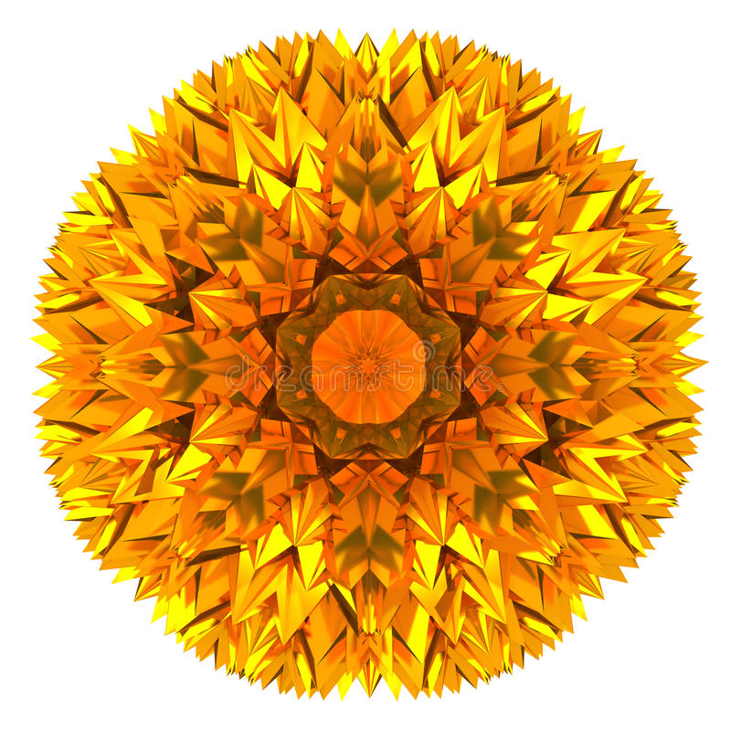Abstrakte goldene Blume 3d lizenzfreie abbildung