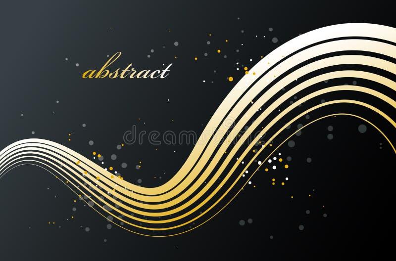 Abstrakte goldene Linien perspektiven-Vektorhintergrund der Bewegung 3D im Maß, Goldelegantes curvy helles gestreiftes Gestaltung stock abbildung
