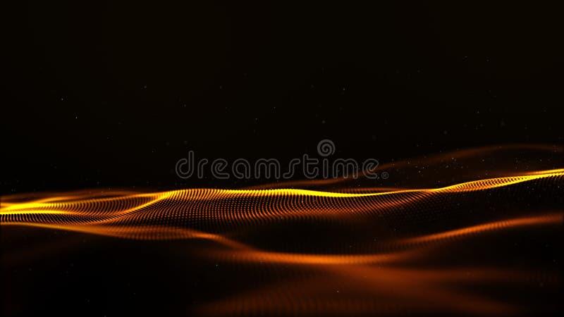 Abstrakte Goldfarbdigitale Partikel bewegen mit bokeh und Lichtbewegungshintergrund wellenartig vektor abbildung