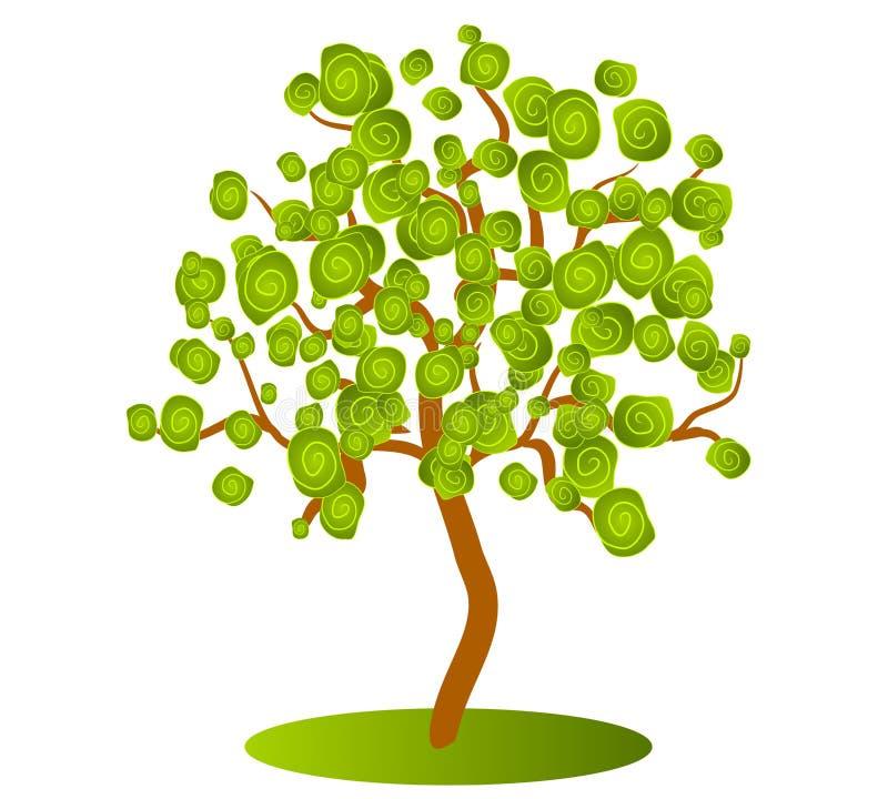 Abstrakte grüne Baum-Klipp-Kunst stock abbildung