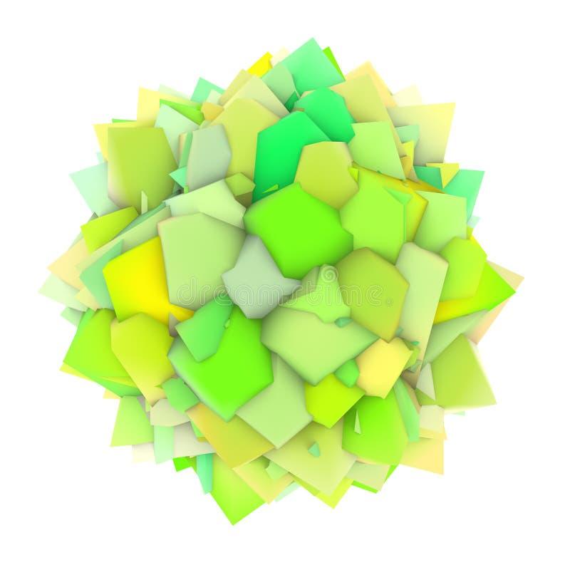 abstrakte grüne gelbe Form 3d auf Weiß stock abbildung