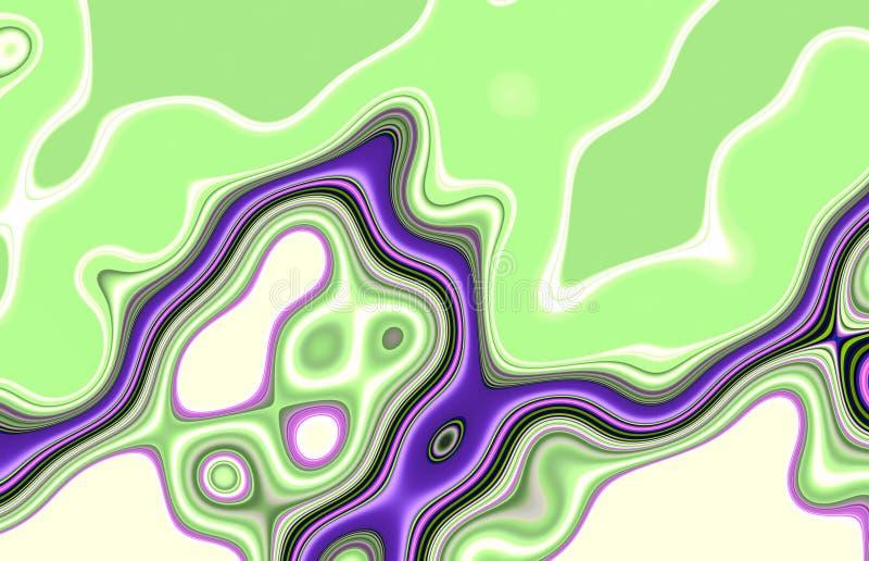 Abstrakte grüne purpurrote flüssige Linien Hintergrund, weiche Mischung kontrastiert, Linien, Formen, Grafiken Abstrakter Hinterg lizenzfreie abbildung