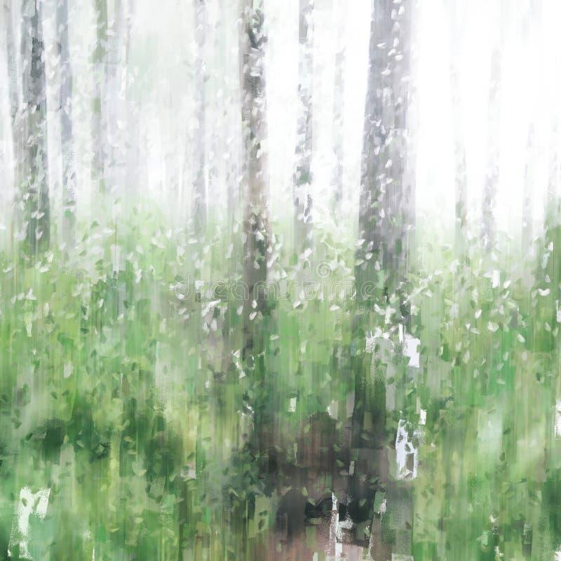 Abstrakte grüne Schattierungen von Bäumen im Regenwald mit Nebel lizenzfreie abbildung