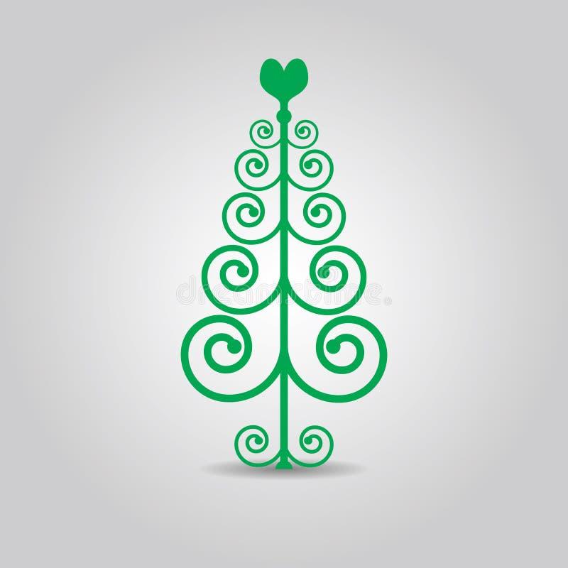 Abstrakte grüne Strudel Weihnachtsliebesbaumikone lizenzfreie abbildung