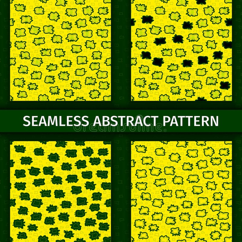 Abstrakte grüne und gelbe nahtlose Muster eingestellt vektor abbildung