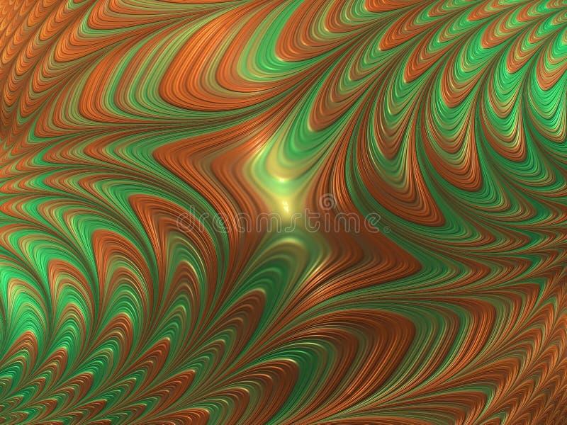 Abstrakte grüne und orange Fractallinien und -wellen 3d übertragen für Entwurf und Unterhaltung Festlicher Hintergrund für Brosch vektor abbildung