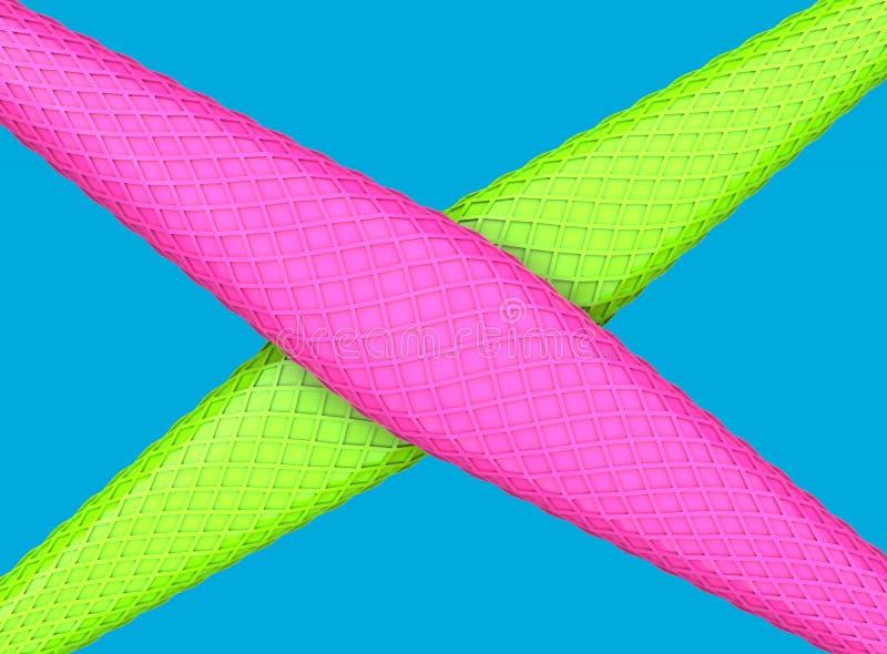 Abstrakte gr?ne und rosa Formen mit schneidenen der Kubikbeschaffenheit - vibrierende Farben vektor abbildung