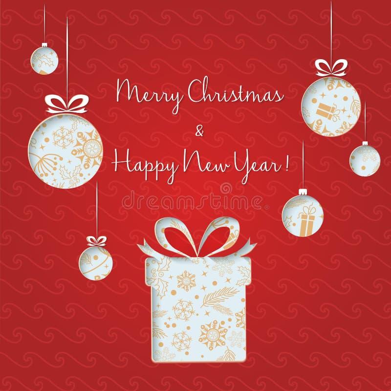 Abstrakte grüne Weihnachtsbälle und -geschenke cutted vom Papier auf rotem Hintergrund Frohe Feiertage und neues Jahr Weihnachten vektor abbildung
