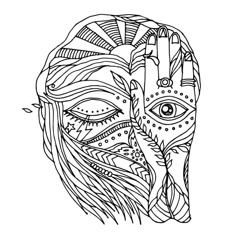 Abstrakte Grafik offen, nahe Augen und Sinnesmensch mit natürlichem Element lizenzfreie abbildung