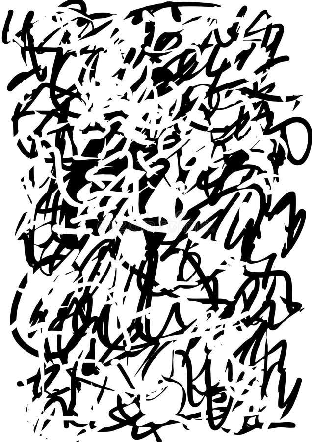 Abstrakte Grafikschmutzschwarzbeschaffenheit von den Streifen und von den Anschlägen vektor abbildung