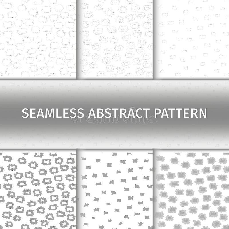 Abstrakte graue nahtlose Muster eingestellt stock abbildung
