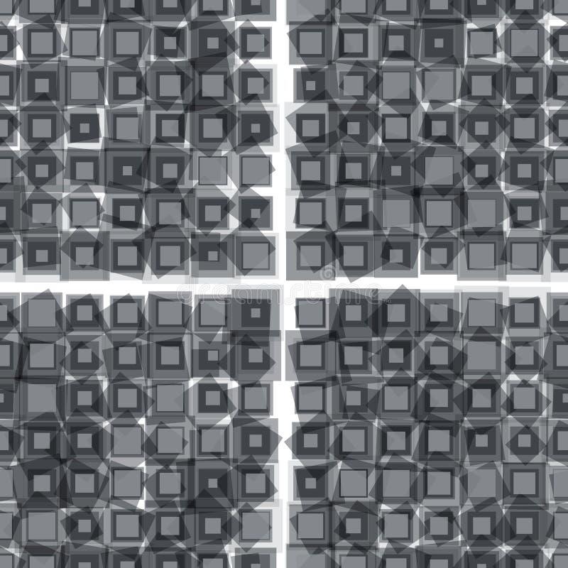 Abstrakte graue Quadrate und nahtloses Muster der Raute vektor abbildung