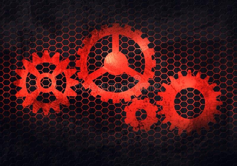 Abstrakte graue rostige Metallplatte mit prägeartigem Gang iconin hexago lizenzfreie abbildung