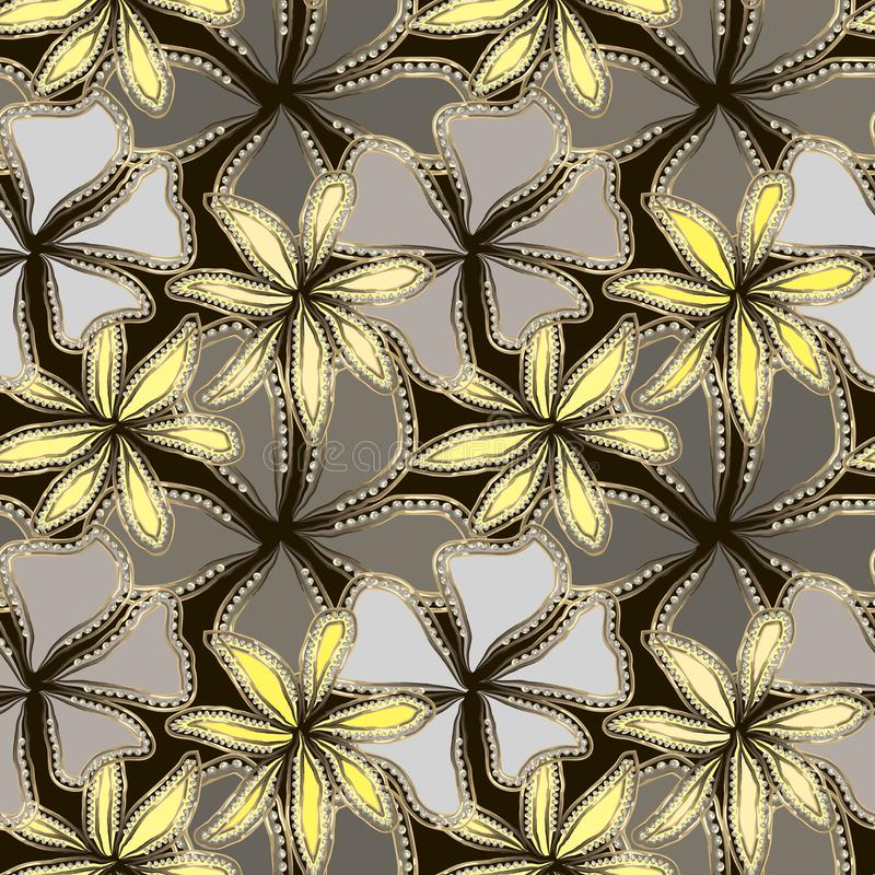 Abstrakte graue und gelbe Blumen im Goldrahmen mit Diamanten Kann an Gru?karte, dekoratives Papier, Gewebedesign, Webdesign, etc lizenzfreie abbildung