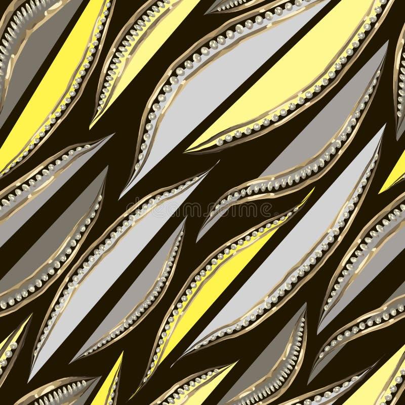 Abstrakte graue und gelbe Blumenblätter im Goldrahmen mit Diamanten Kann an Gru?karte, dekoratives Papier, Gewebedesign, Webdesig lizenzfreie abbildung