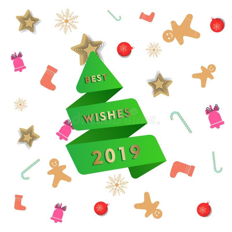 Abstrakte Grußkartenschablone des neuen Jahres mit Grünbuch geschnittenem Weihnachtsbaum in der Origamiart lizenzfreie abbildung