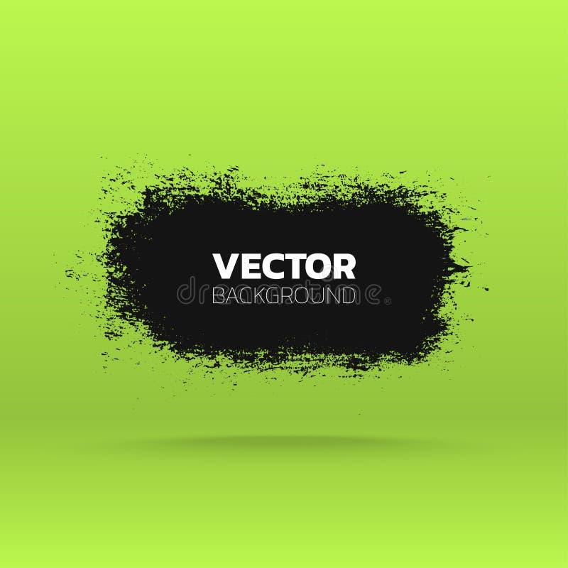 Abstrakte grunge Fahne Bürsten Sie schwarzen Farbentinten-Anschlaghintergrund Rand der Farbband-, Lorbeer- und Eichenblätter stock abbildung