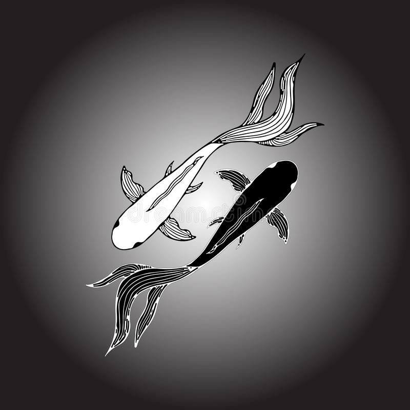 Abstrakte Hand gezeichnet von zwei Karpfenfischen Hand gezeichnete koi Fische Japanischer Karpfen Beschneidungspfad eingeschlosse lizenzfreie abbildung