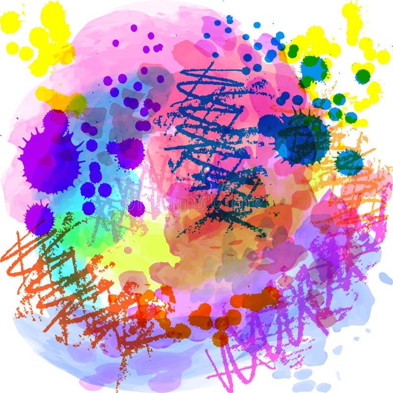 Abstrakte Hand gezeichneter Aquarellhintergrund Auch im corel abgehobenen Betrag Schmutzbeschaffenheit f?r Karten und Fliegerdesi stock abbildung